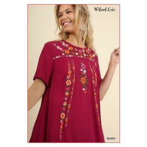Umgee T-Shirt Dress with Embroidery in Berry